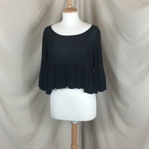 Free People Ruffled Cropped Sweater